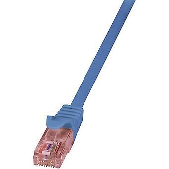 LogiLink RJ45 Networks Cable CAT 6 U/UTP 2 m Blue Flame-retardant, incl. detent