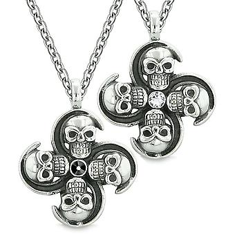 Supernatural Skull Amulet Powers Love Couples Best Friends Black White Crystals Pendant Necklaces