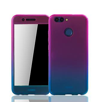 Huawei Nova 2-geval volledige bescherming-case cover tank bescherming glas roze / blauw