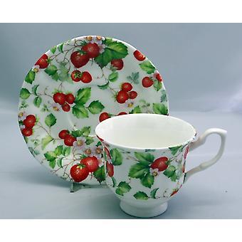 English Bone China Teacup & Saucer Strawberries