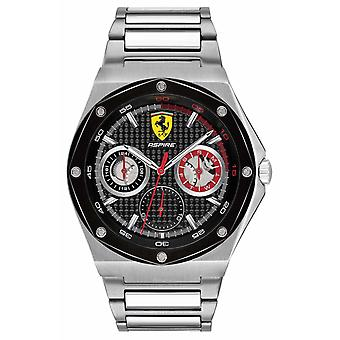 Scuderia Ferrari Mens Aspire Stainless Steel Black Dial Date Display 0830535 Watch
