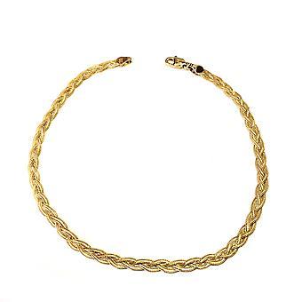 14K żółte złoto diament Cut pleciony lancuszek łańcuch Fox, 10