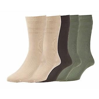 Mens HJ HALL LT91 LOOSE TOP non elastic Wide Top Cotton Rich Socks 5 Pair Pack