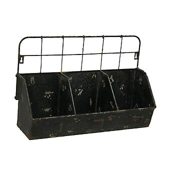 Black Distressed Metal 3 Bin Wall Organizer