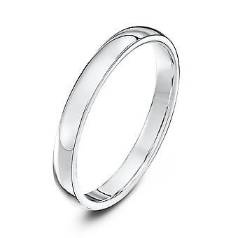 Star Wedding Rings 9ct White Gold Heavy Court Shape 2.5mm Wedding Ring