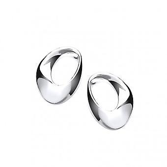 Francés de Cavendish lazo Oval aretes de plata