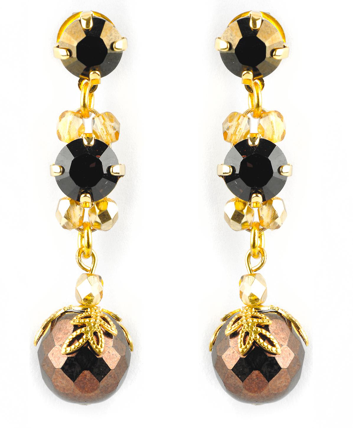 Waooh - jewelry - WJ0692 - earrings with Swarovski - Silver Black Yellow - mount colour gold rhinestones