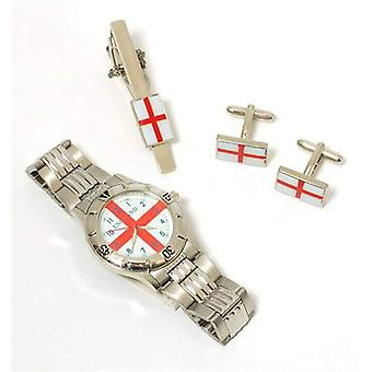 Boxx England Watch Tie Pin And Cufflinks Gents Gift Set In Presentation Box