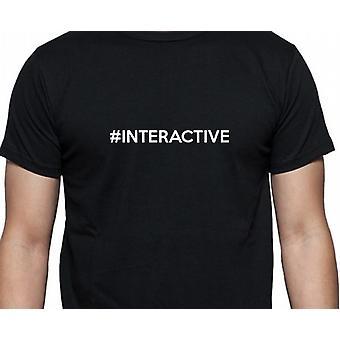 #Interactive Hashag interactieve Black Hand gedrukt T shirt