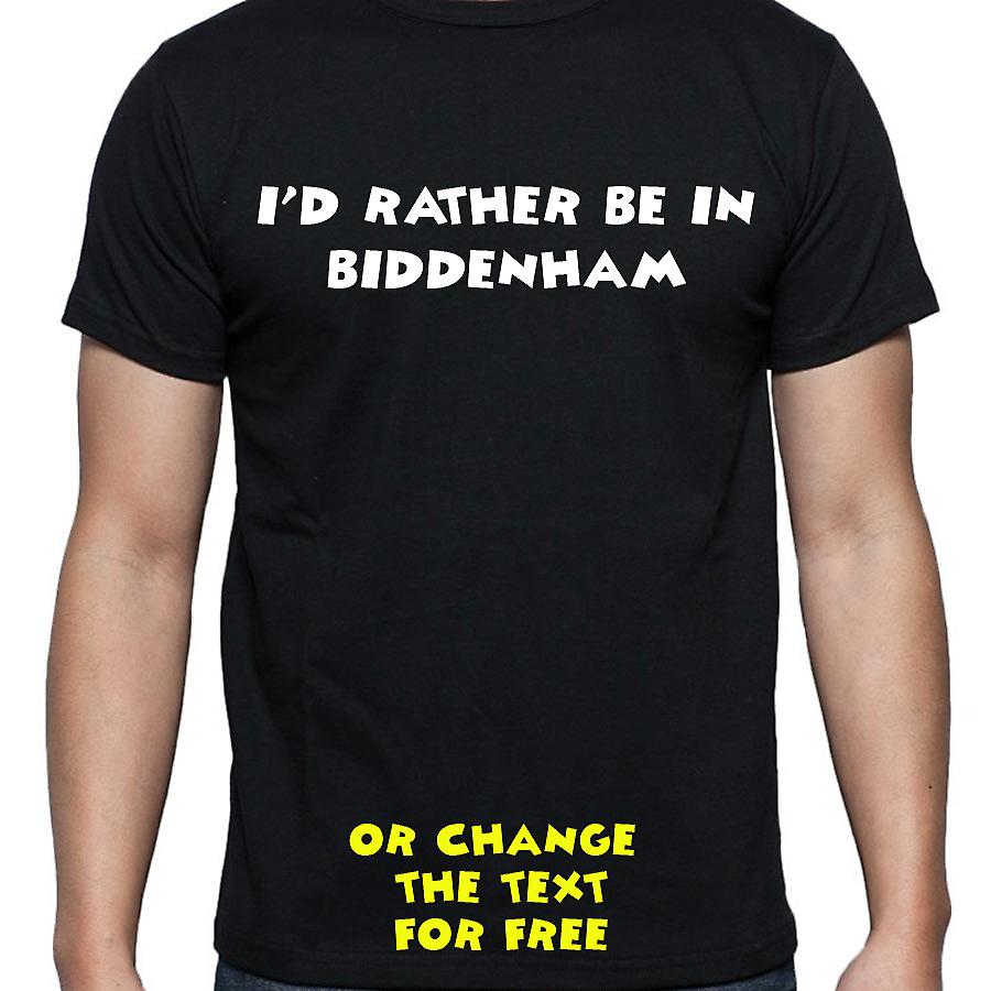I'd Rather Be In Biddenham Black Hand Printed T shirt