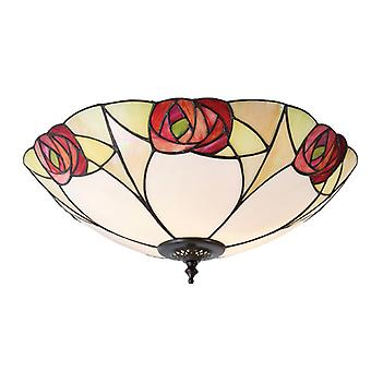Large Tiffany Style Two Light Flush Ceiling Fixture