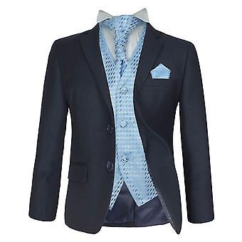 5 पीसी लड़कों शादी, सालाना जलसे, डिनर सूट, नौसेना & नीला औपचारिक Cravat सूट