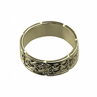 18ct Gold 8mm Celtic Wedding Ring Size R