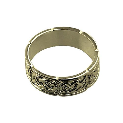 18ct Gold 8mm Celtic Wedding Ring Size W
