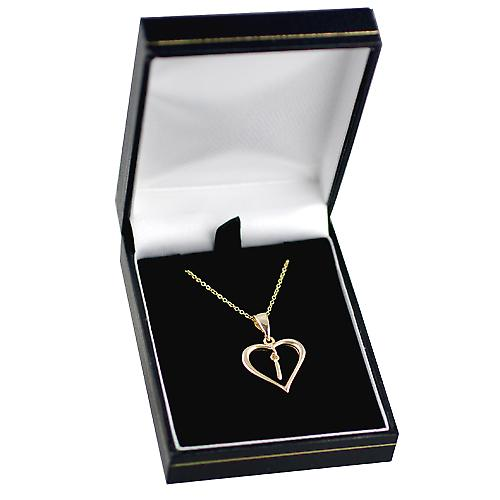 9ct Gold 18x18mm initial I in a heart Pendant with a cable Chain 18 inches