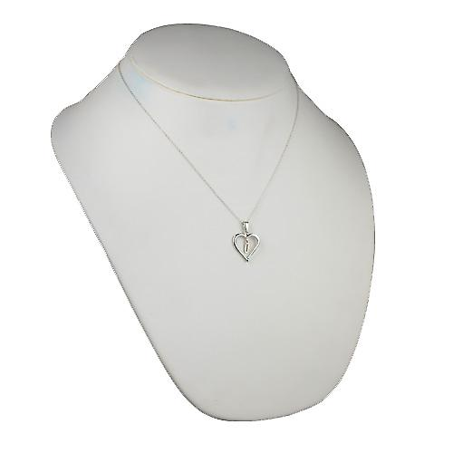 Silver 18x18mm initial U in a heart Pendant with a rolo Chain 20 inches