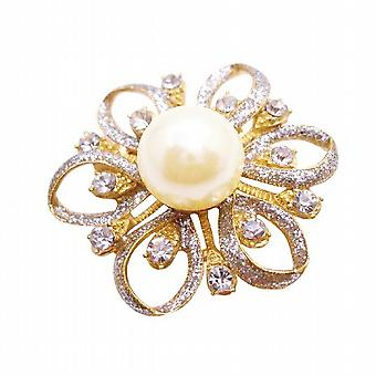 Gold Flower Brooch Fully Embedded with Diamante & Ivory Pearls
