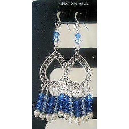 Sterling 92.5 Stamped w/ Swarovski Sapphire Crystal & Pearl Earrings