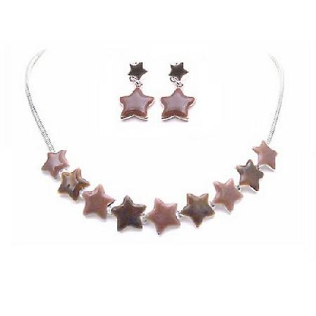 Star Charm Necklace Set Enamel Brown Lite & Dark Star Jewelry
