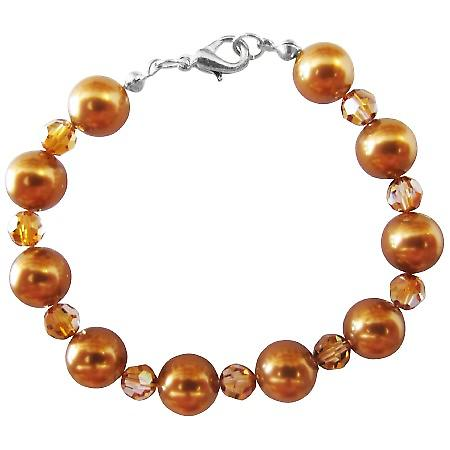 Swarovski Copper Crystal Pearl Bracelet New Handmade w/ 9mm Pearl Material & 22k Gold Plated Clasp