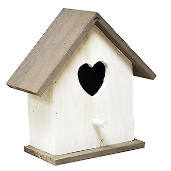 Natures Market BFLOVE White Wooden Wood Wild Bird House Nesting Box with Love Heart Shaped Enterence Hole