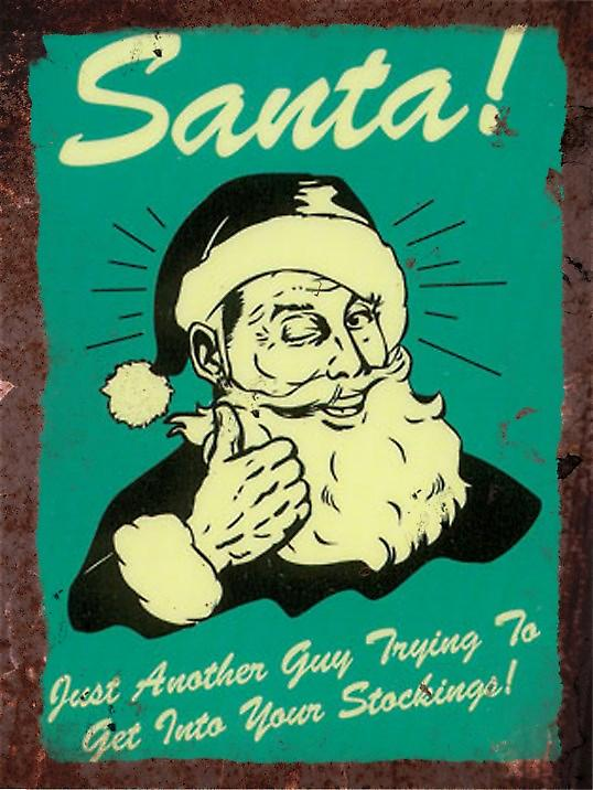 Vintage Metal Wall Sign - Santa!