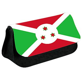 Burundi Flag Printed Design Pencil Case for Stationary/Cosmetic - 0028 (Black) by i-Tronixs