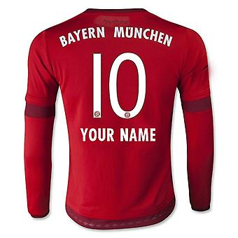 2015-16 Bayern Munich Long Sleeve Home Shirt (Your Name)