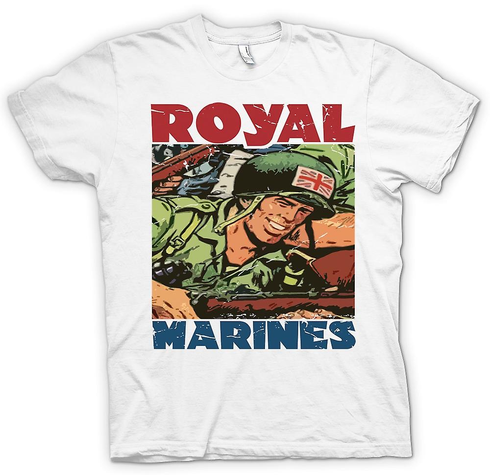 Womens T-shirt - Royal Marines Cartoon - Union Jack Jackson