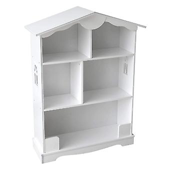 White Wooden Bookcase Dolls House Design
