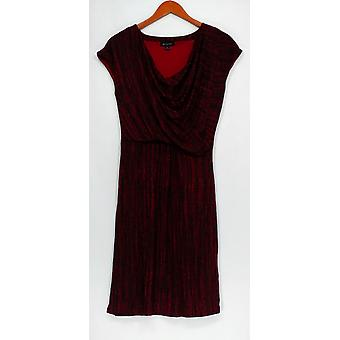 H par Halston Dress Frost Print Drapé Cowl Neck Shiraz Red A269413