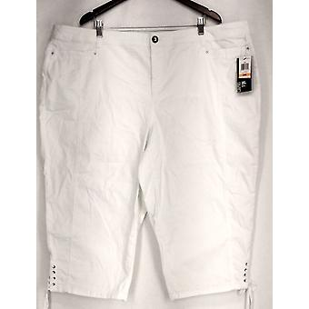 Style & Co. Plus Pants Tummy Control Capri White Womens