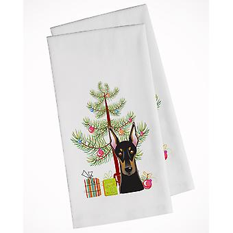 Christmas Tree and Doberman White Kitchen Towel Set of 2
