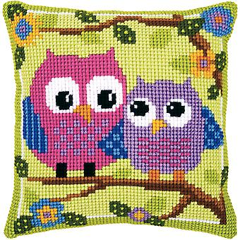 Owls On A Branch Cushion Cross Stitch Kit-15.75