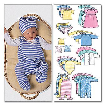 Infants' Jacket, Dress, Top, Romper, Diaper Cover And Hat  Pre Pre  Nb  S Pattern B5585  Pre