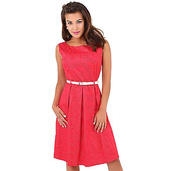 KRISP  Womens Vintage 50s Pin Up Polka Dot Flared Midi Dress Swing Skater Skirt Summer