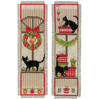 Christmas Atmosphere Bookmarks On Aida Counted Cross Stitch -2.5