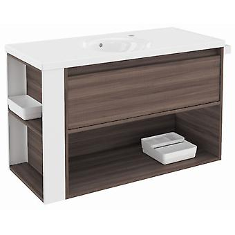 Bath+ 1 Drawer Cabinet + Shelf With Porcelain Basin Fresno-White 100cm