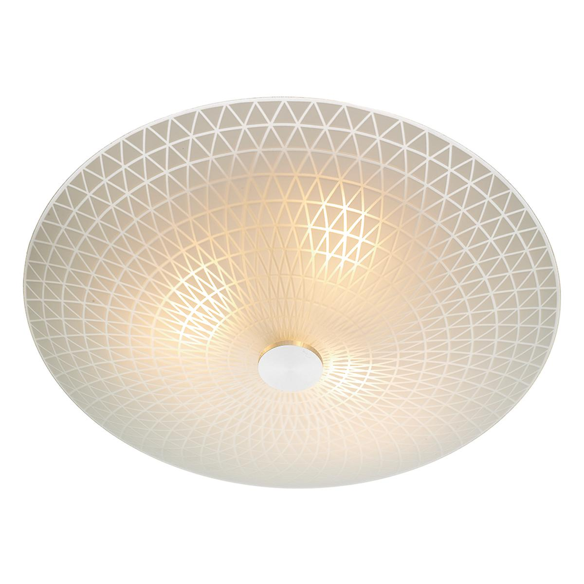 Dar COL522 Colby Ceiling Flush Light Frosted Glass With Etched Pattern