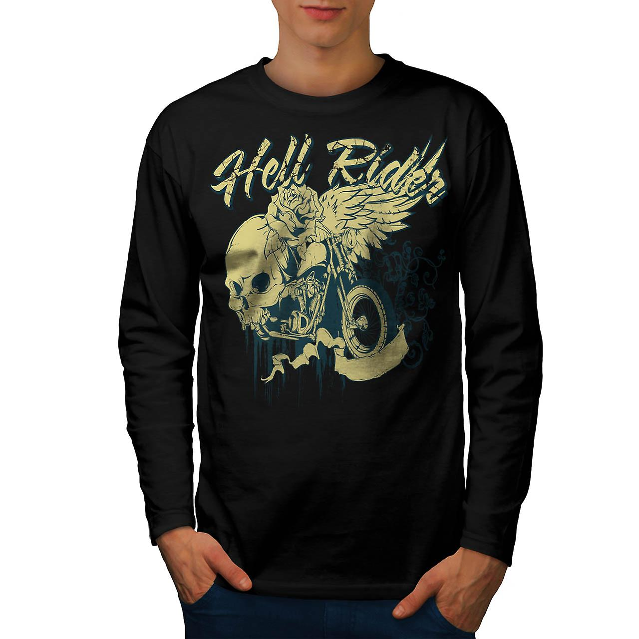 Hell Rider Biker Life Rose Skull Men Black Long Sleeve T-shirt | Wellcoda