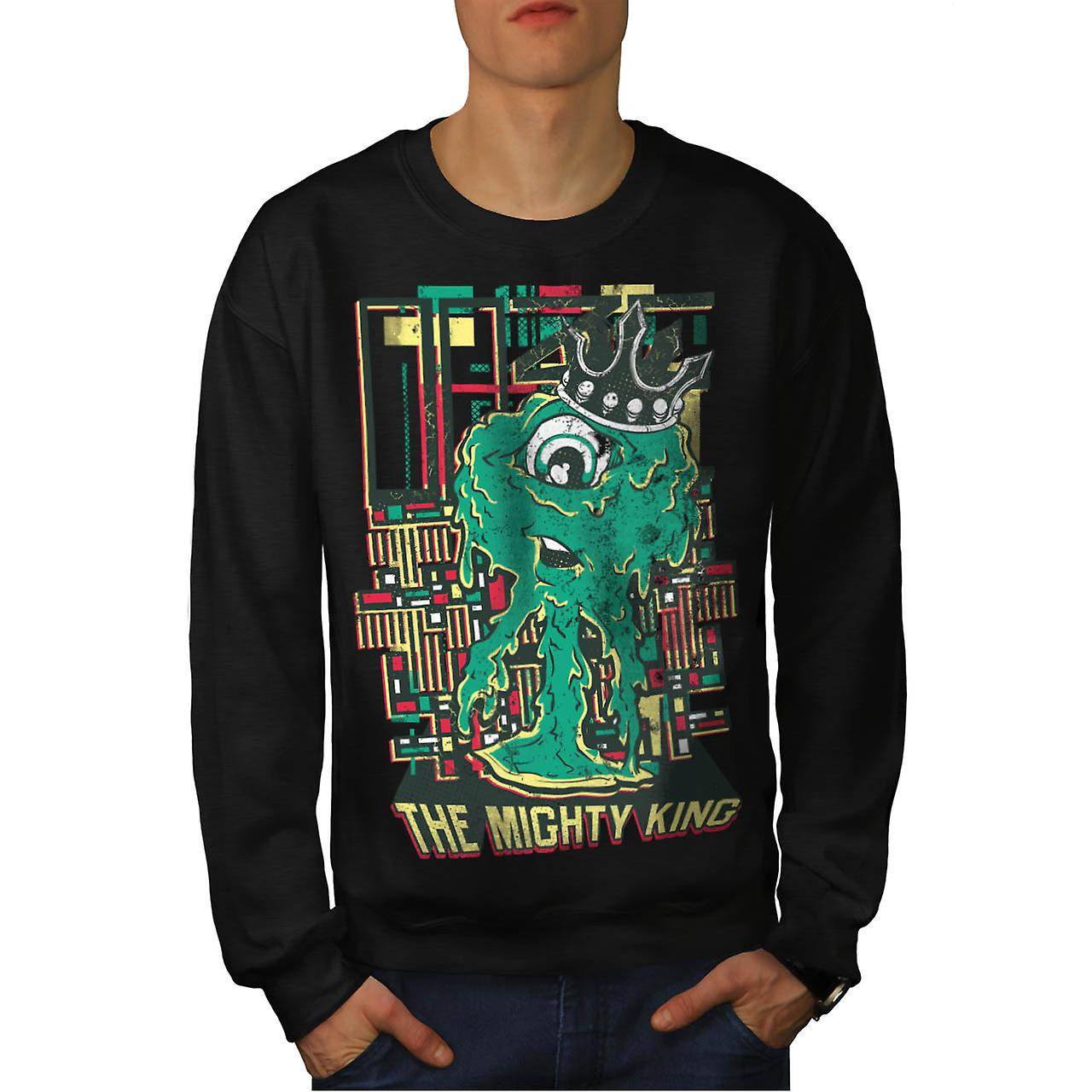 Mektige King Monster Cyclops livet menn svart Sweatshirt | Wellcoda