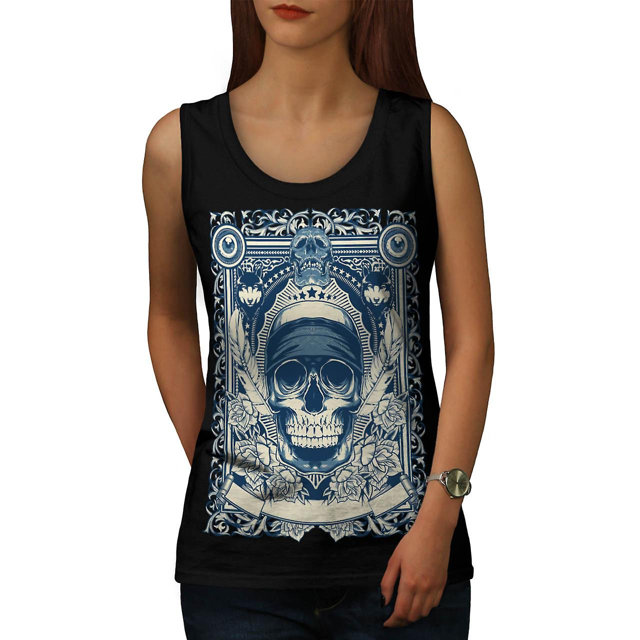 Skull Gangster Head Burial Card Women Black Tank Top | Wellcoda