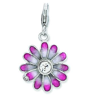 Sterling Silver Enameled Flower With Lobster Clasp Charm - 2.3 Grams