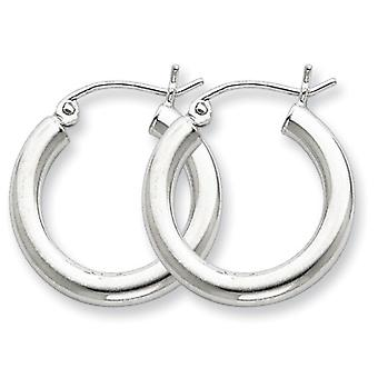 925 Sterling Silver Polished Hinged post Rhodium plaqué 3mm Boucles d'oreilles Round Hoop - 1,8 Grammes