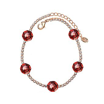 14K Gold Plated Red Austrian Crystals Chain Bracelet, 20 cm