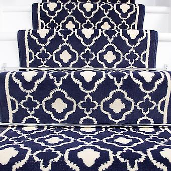 90cm Width - Contemporary Navy Blue Trellis Stair Carpet