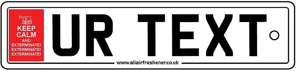 Personalised  Keep Calm Daleks Exterminate Numberplate Car Air Freshener
