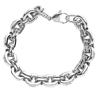 Iced out stainless steel anchor bracelet - 12mm silver