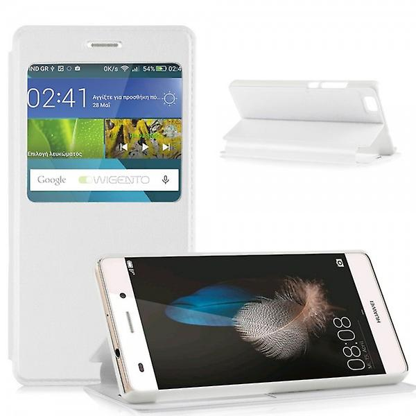 Book Bag Window White for Huawei Ascend P8 Lite