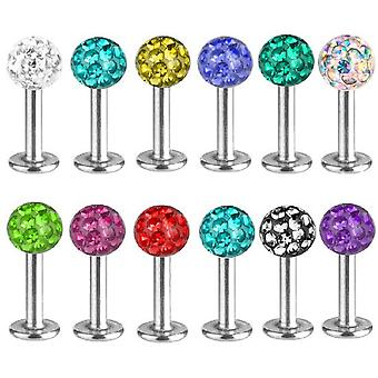 Labret Bar Stud, Lip,Tragus Piercing, Multi Crystal | Length 6-8 mm | 12 Colours